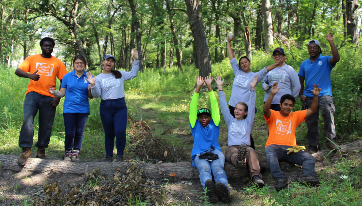 a group of Chicago Conservation Leadership Corps members.