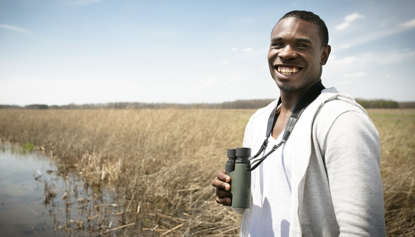 person birding at Bartel Grassland