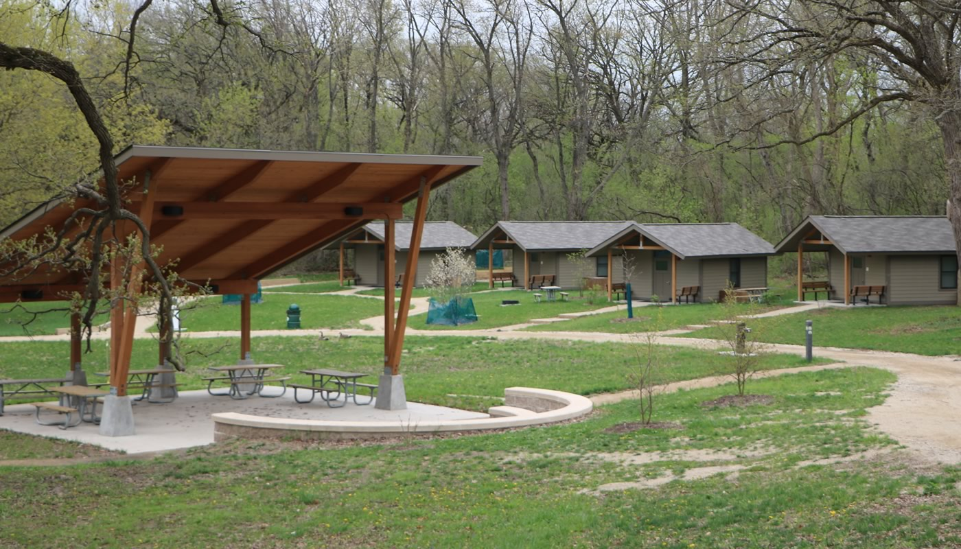Pavilion and cabins at Camp Reinberg
