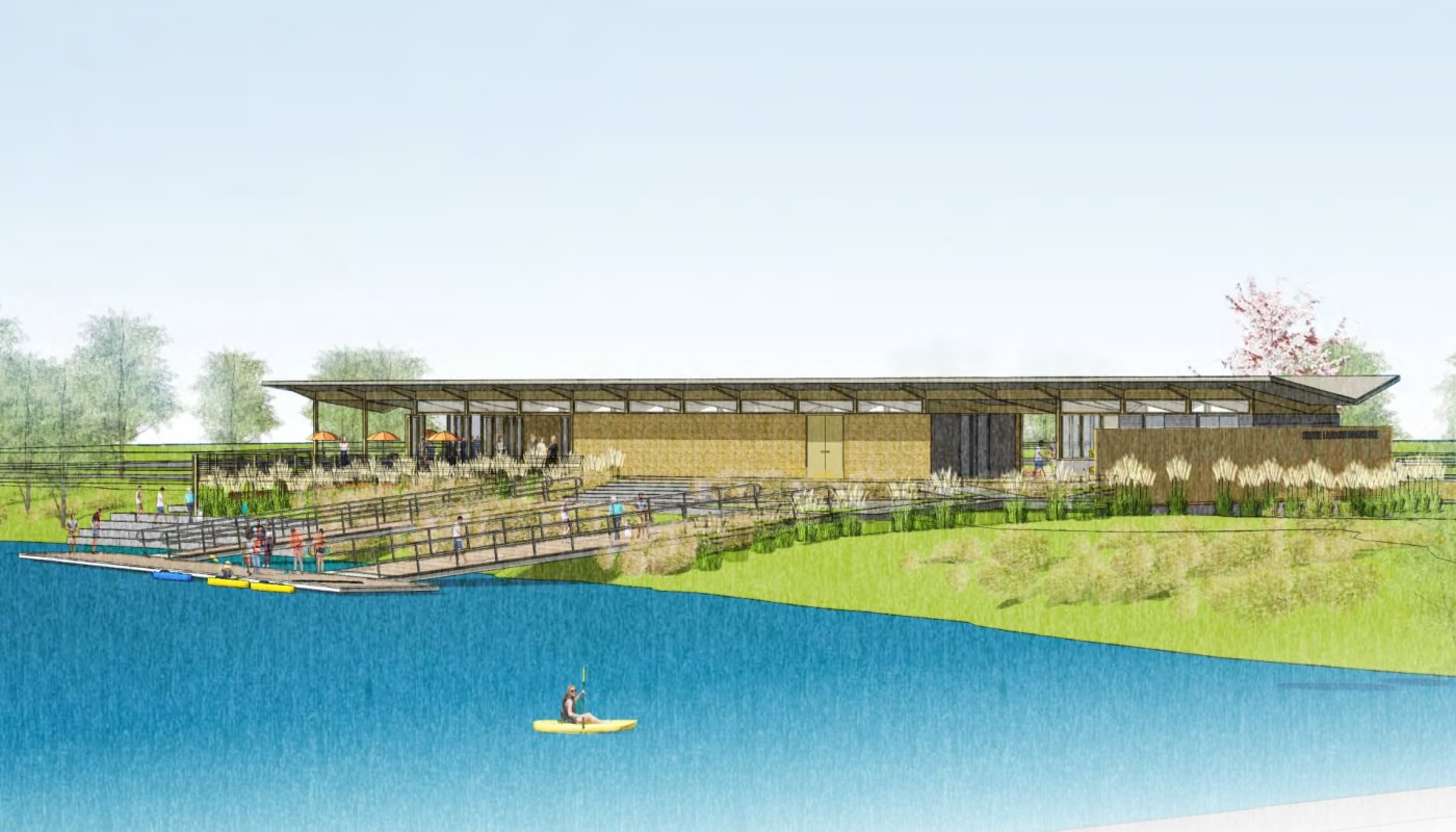 rendering of a design for the new Skokie Lagoons Boathouse