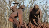 a metal statue at Chicago Portage National Historic Site