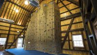 the indoor climbing wall at Camp Sullivan