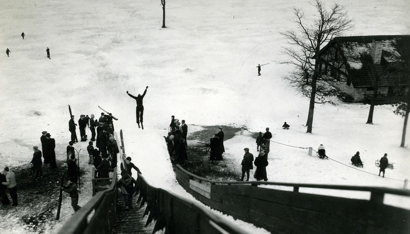historic photo of ski jumper at Dan Ryan Woods in the 1920s