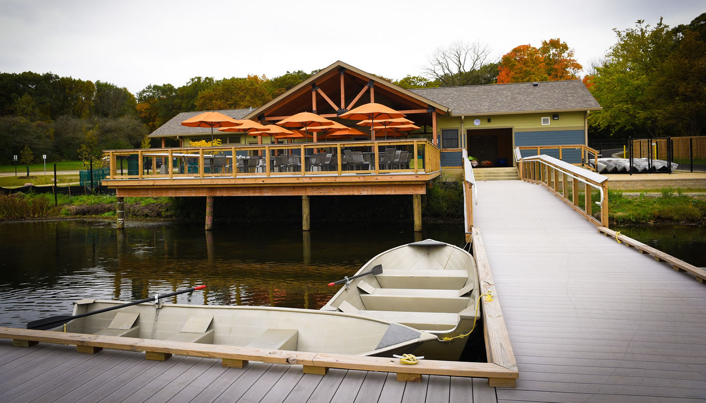 Maple Lake Boating Center building and pier