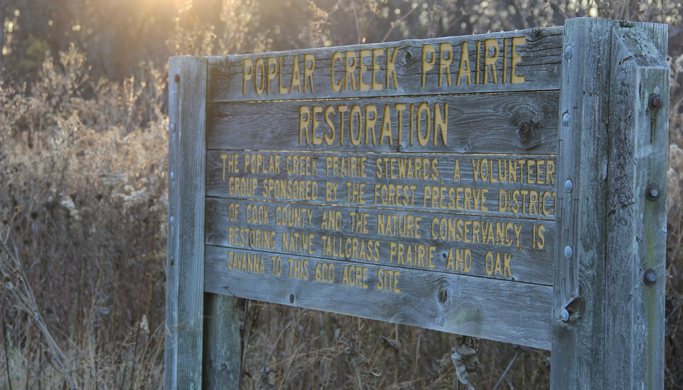 a sign with information about the Poplar Creek Prairie Stewards volunteer group.