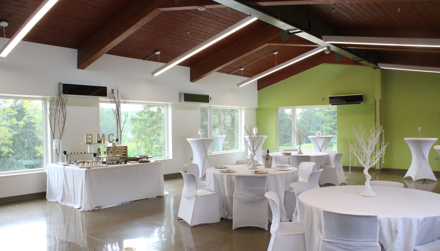 the indoor event space at Rolling Knolls Pavilion