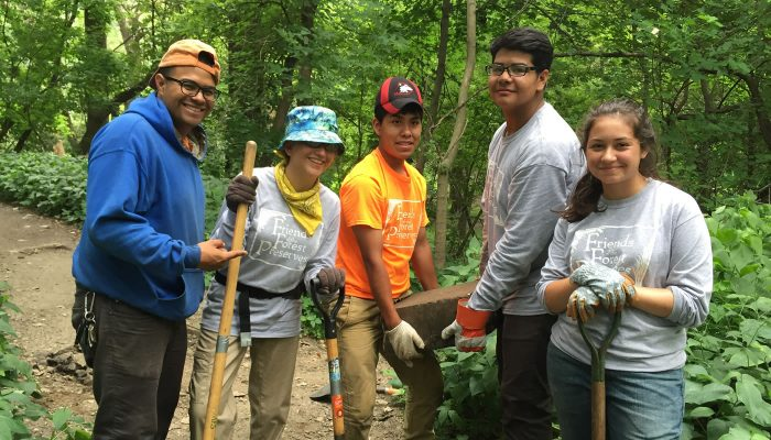 A group from the Chicago Conservation Leadership Corps doing restoration work