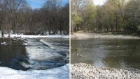 LEFT: Dam #2 before removal; RIGHT: Dam #2 after removal.