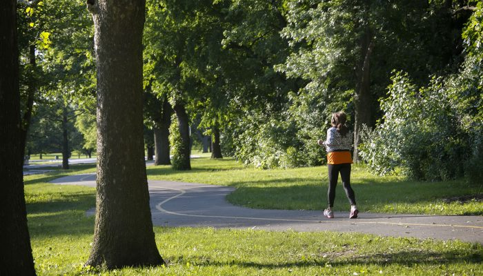 a person walking at Dan Ryan Woods