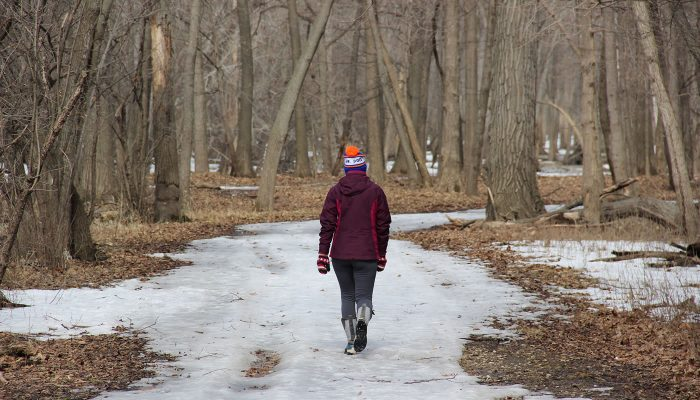 a person walking on the Des Plaines Trail in winter