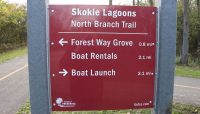 A sign with directions on the North Branch Trail at Skokie Lagoons