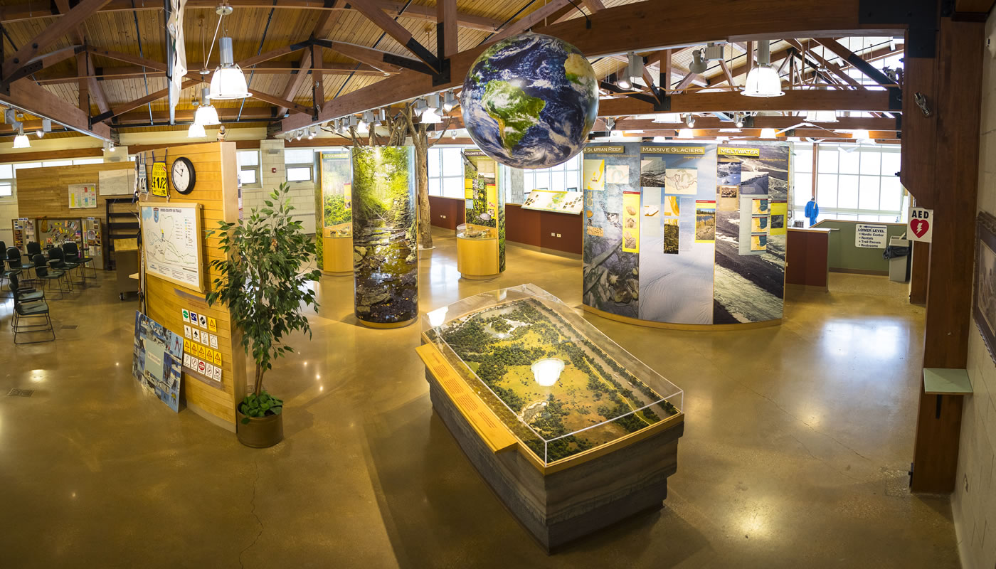 the interior of visitor center at Sagawau Environmental Learning Center