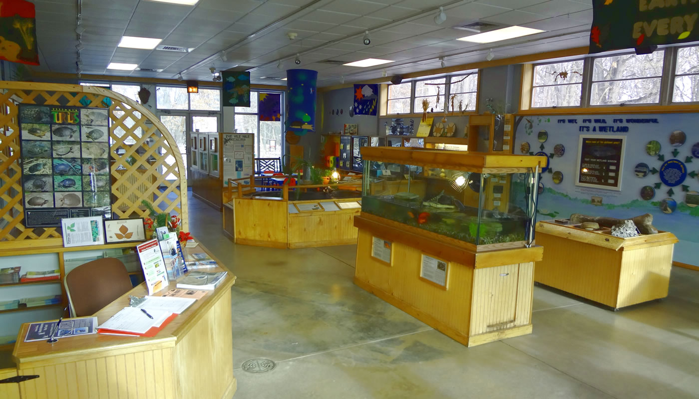 inside an exhibit area at Sand Ridge Nature Center