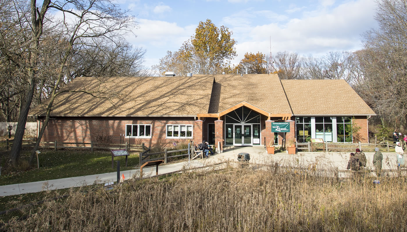 exterior of the Sand Ridge Nature Center building