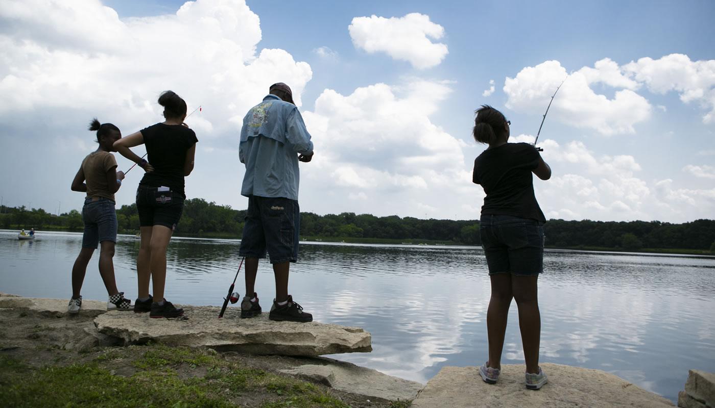 people fishing at Wampum Lake