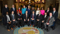 The 2018-2022 Forest Preserve District of Cook County Board of Commissioners posing for a photo.