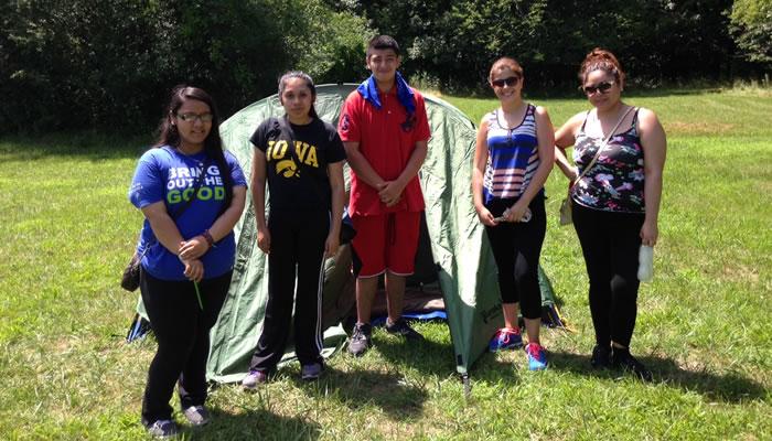 Teens from Mujeres Latinas en Acccion at Camp Sullivan.