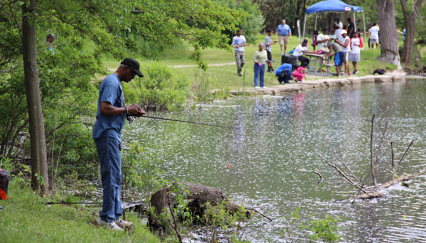 people fishing at Beaubien Woods celebration