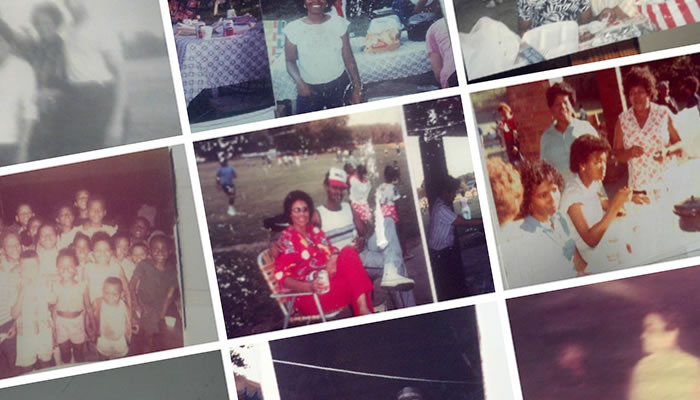 collage of photos of members of the Bell, Jones and Brown families at picnics in Dan Ryan Woods