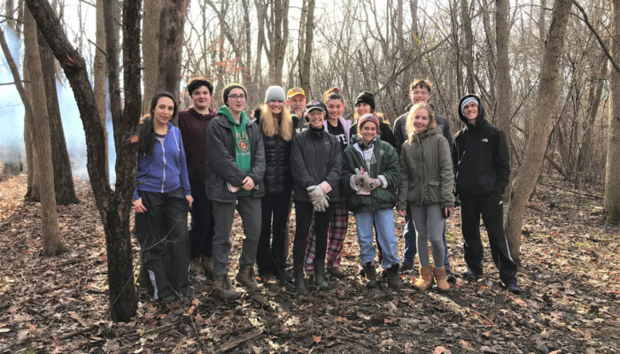 volunteers at Kloempken Prairie