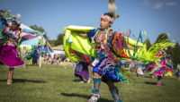 a Native American dancer at Busse Woods