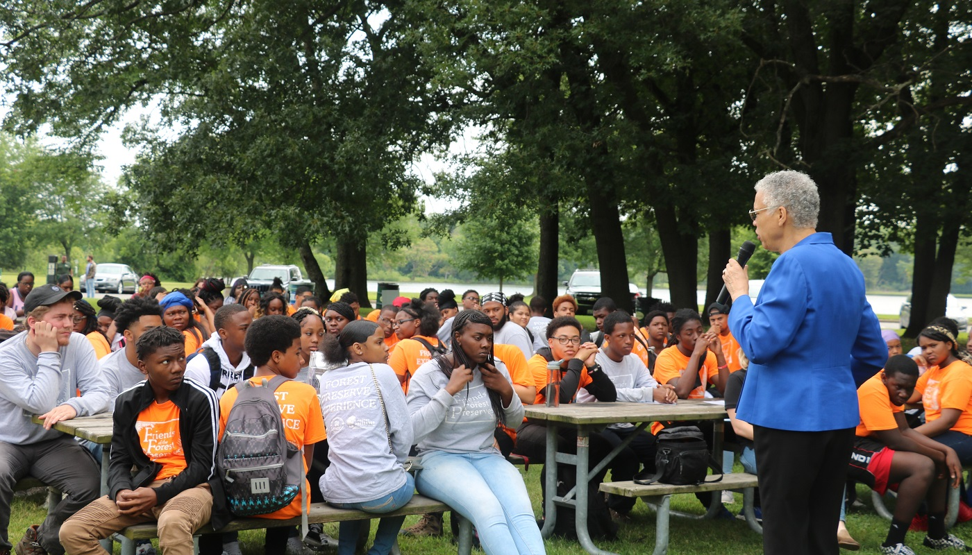 President Preckwinkle speaks to 2019 Forest Preserve Experience graduates