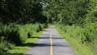 a long straight stretch of trail with woods on either side on the Burnham Greenway Trail