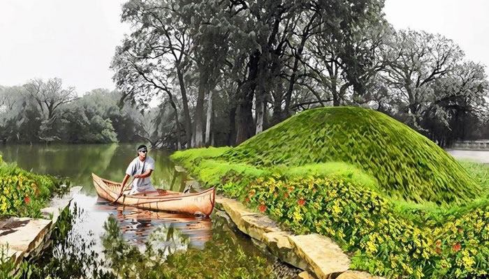 a rendering of a person in a canoe next to an earthen mound