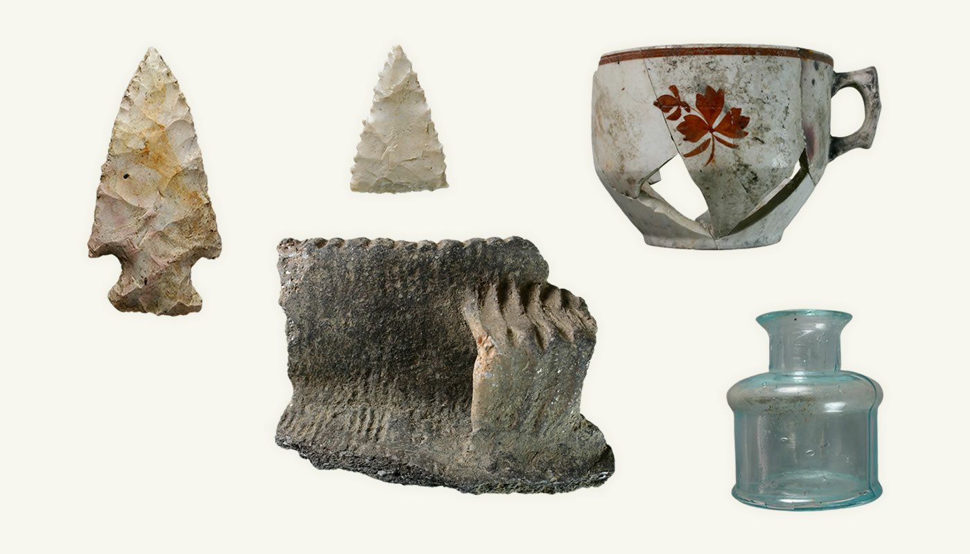 archaeological artifacts, including arrowheads, ceramics and historic bottles