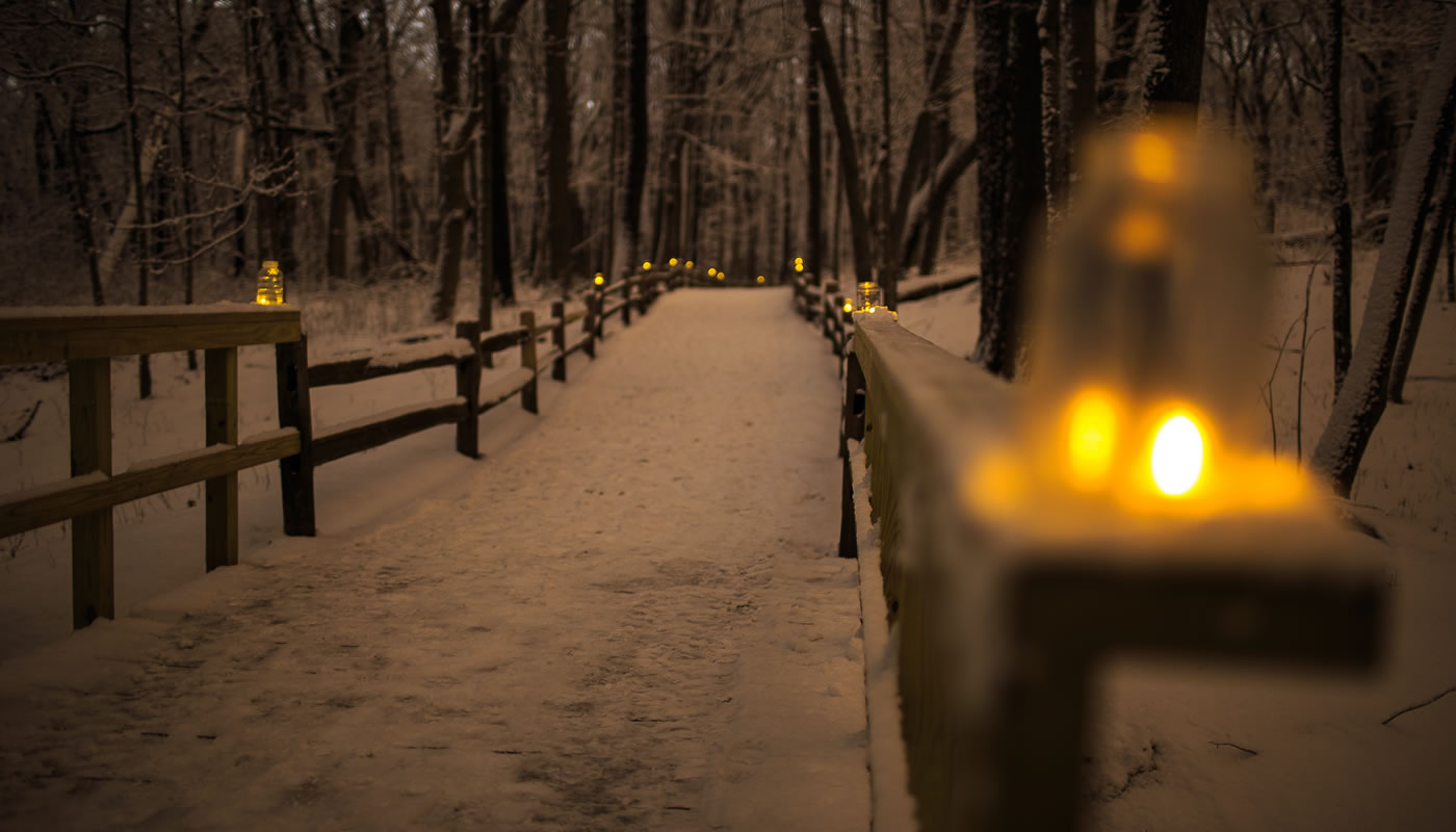 a trail covered in snow and lined with candles at night at trees and ground covered with snow at River Trail Nature Center
