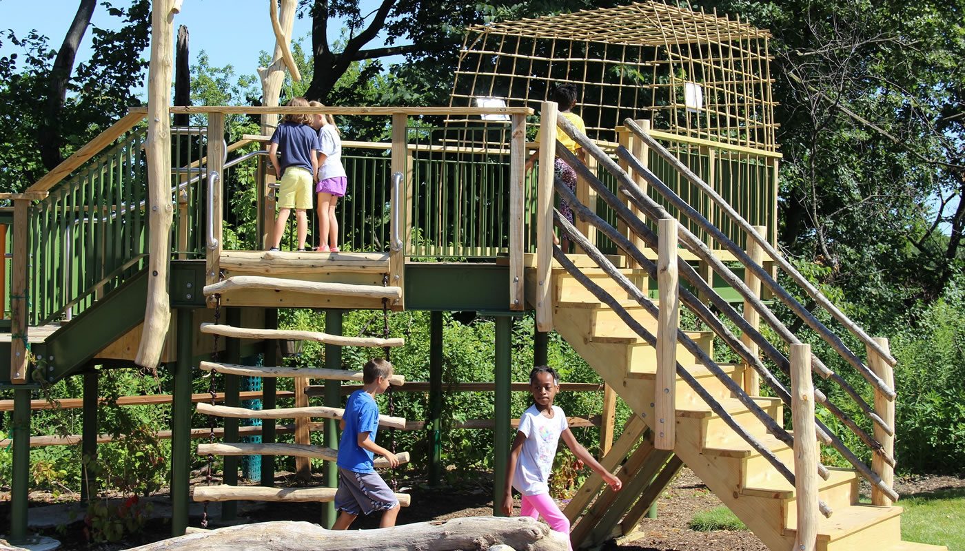 children playing on the treehouse at Dan Ryan Woods