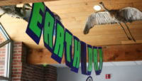 an Earth Day banner at Sand Ridge Nature Center
