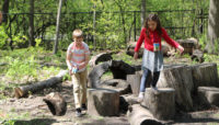 two children playing on logs at Trailside Museum of Natural History