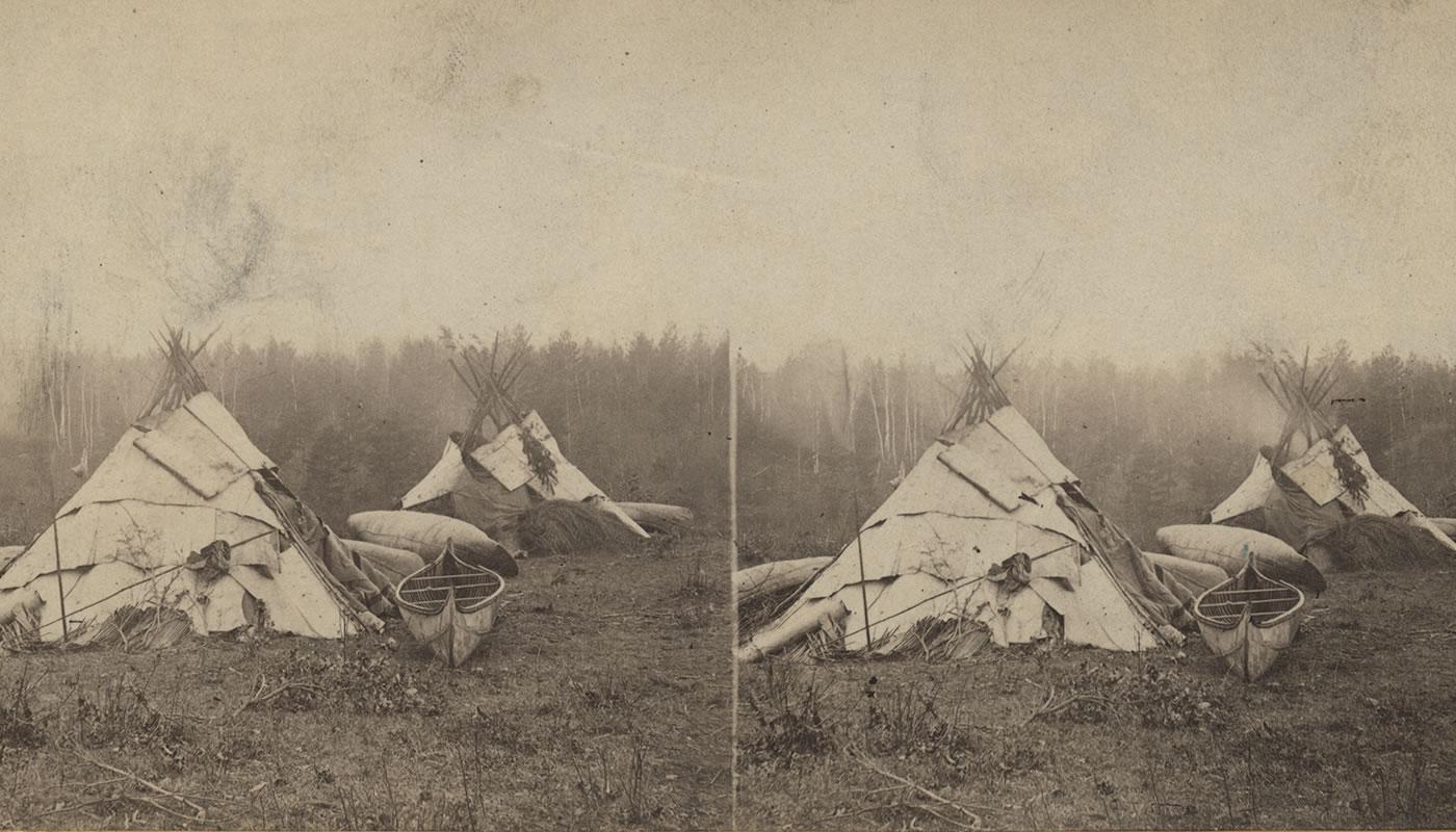 An Ojibwa camp in Minnesota in 1870.