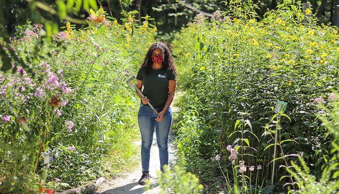 Destiny Ogando at River Trail Nature Center's pollinator garden