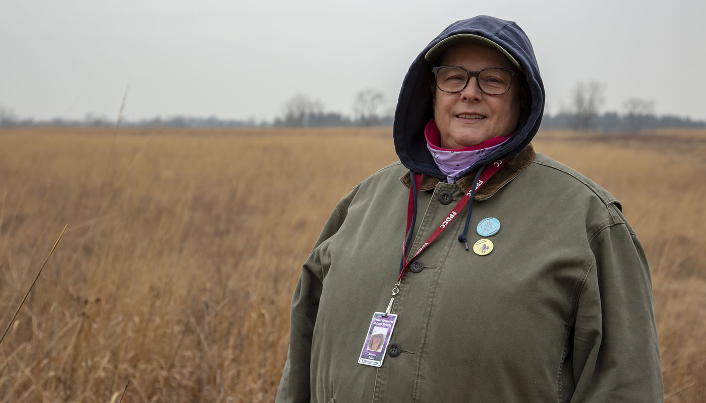 Volunteer Marnie Baker at Orland Grassland.