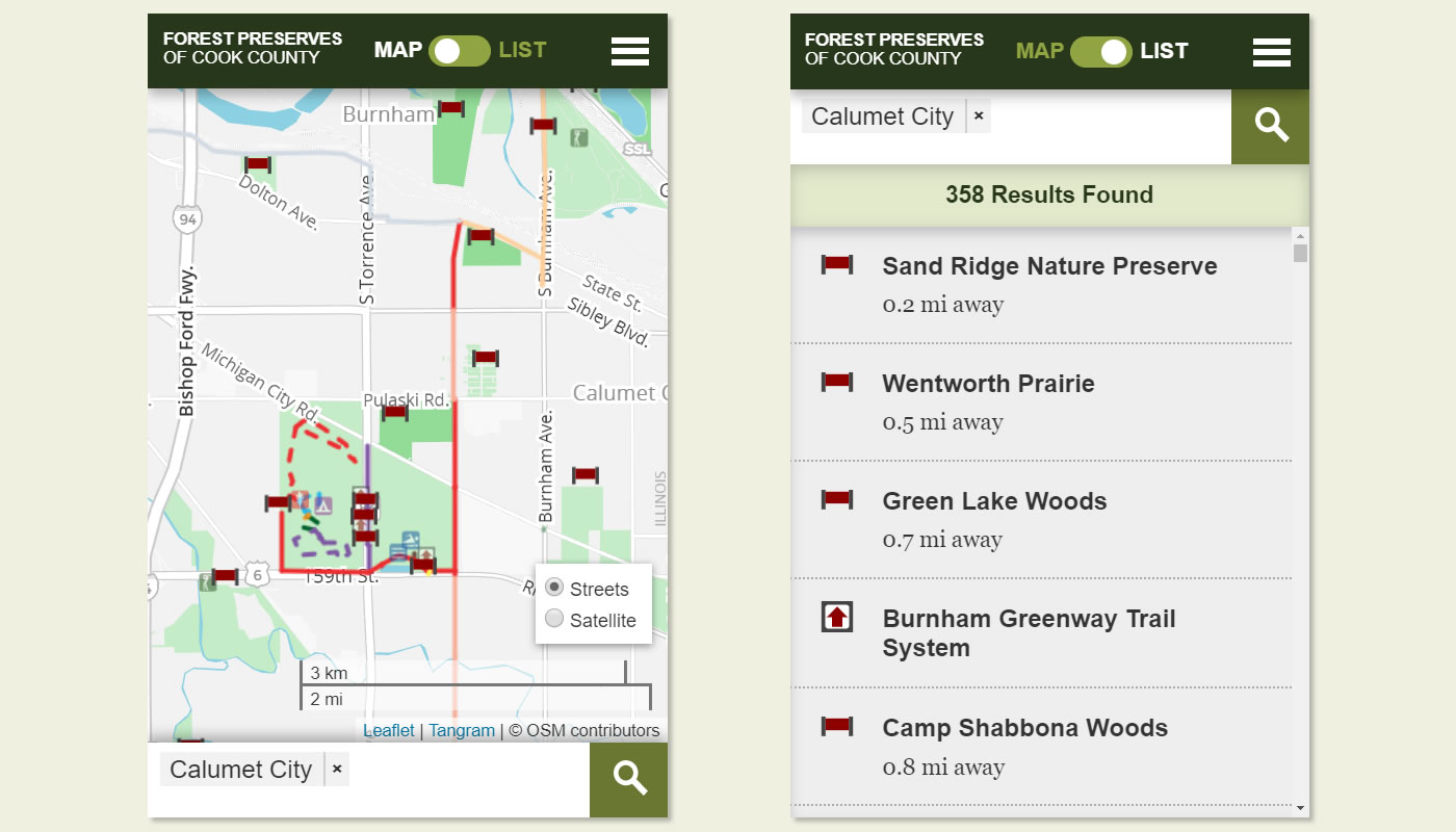 screenshot of the Forest Preserves interactive web map