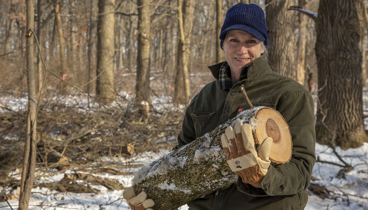 Carolyn Faber volunteering at the Forest Preserves of Cook County