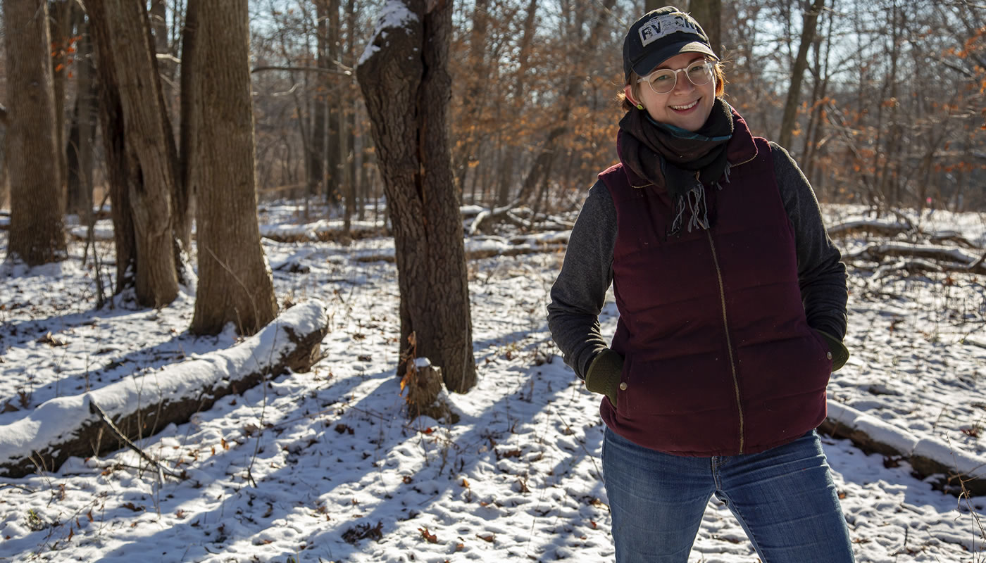 Sarah Symmonds volunteering at the Forest Preserves of Cook County