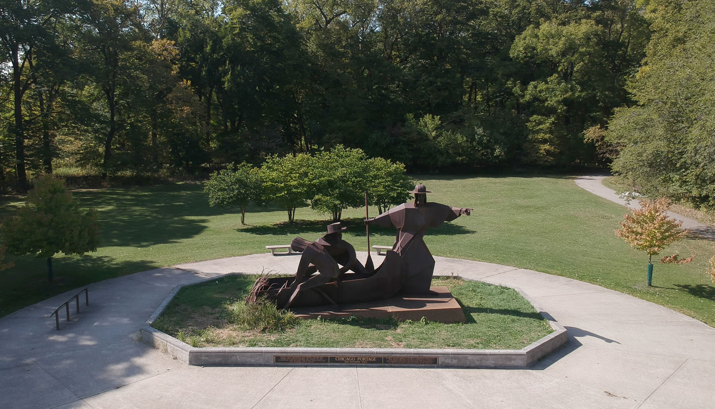 aerial view of the statue at Chicago Portage National Historic Site