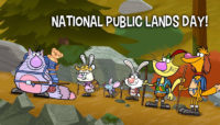 a cartoon of Nature Cat and friends with the words Nation Public Lands Day